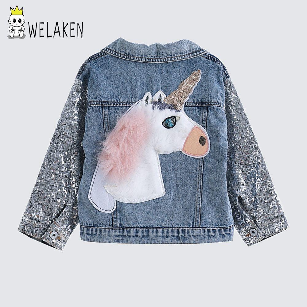 welaken Children's Clothing Unicorn Denim Coat For Girl Jacket For Girls Outerwear & Coats Toddler Denim Girls Jackets Coats