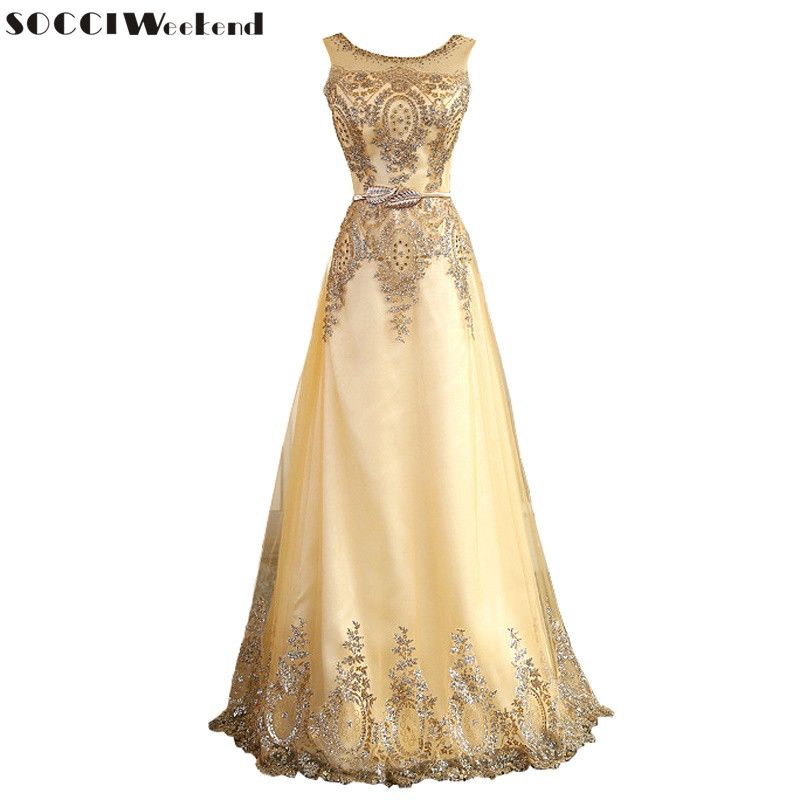 SOCCI 2016 Tulle Lace Muslim Gold Evening Dress Long Formal gown Prom Robe de Soiree Mother of the Bride Dresses come with Belt