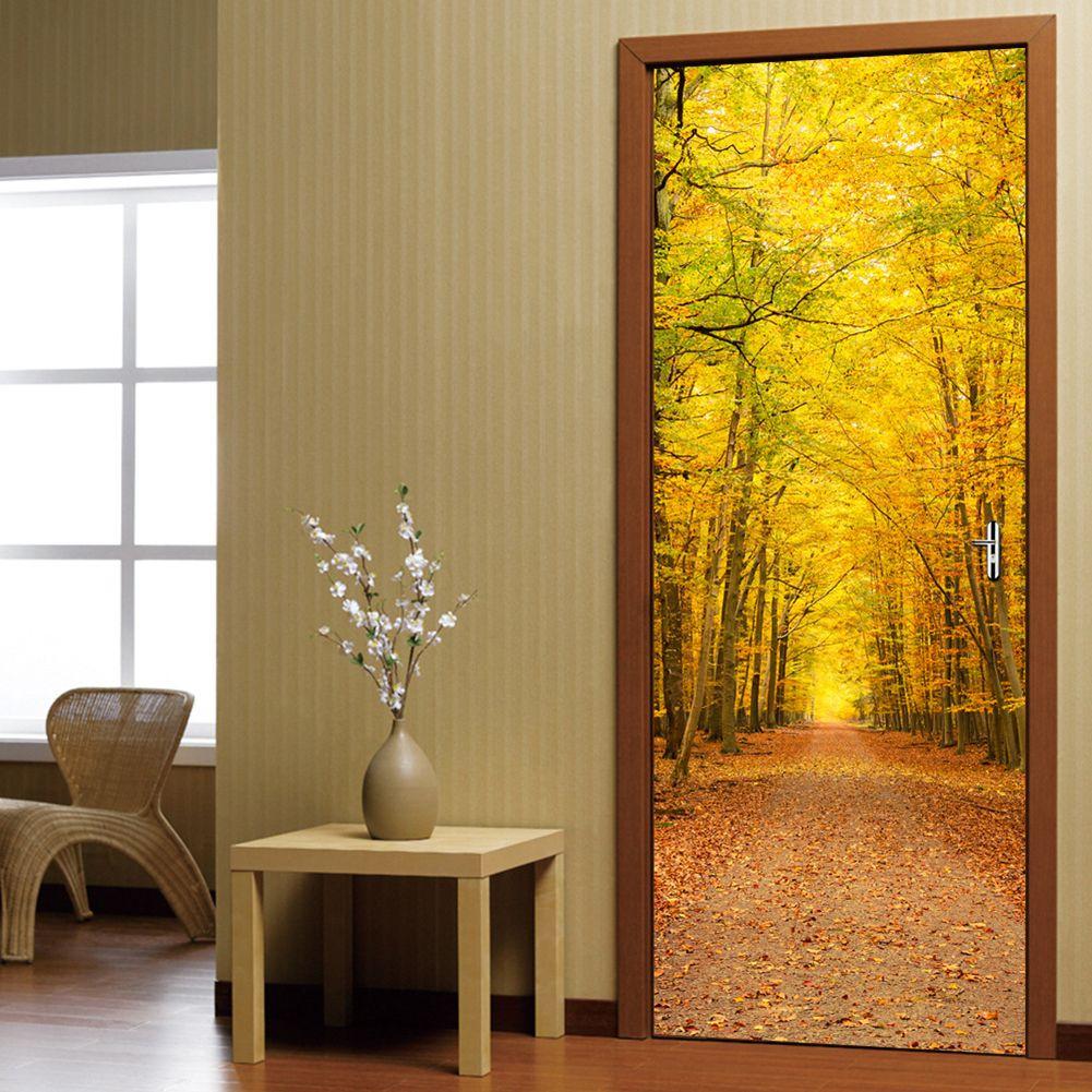 Puerta 3D Etiqueta de La Pared de BRICOLAJE Home Decor Art Mural Vinilo creativo Papel Pintado Impermeable pegatinas en la puerta De Madera hojas de Otoño
