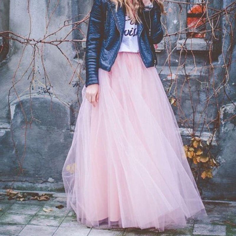 2018 Printemps Mode Femmes Dentelle Princesse Fairy Style 4 couches de Voile de Tulle Jupe Bouffant Puffy Jupe de la Mode Long Tutu Jupes