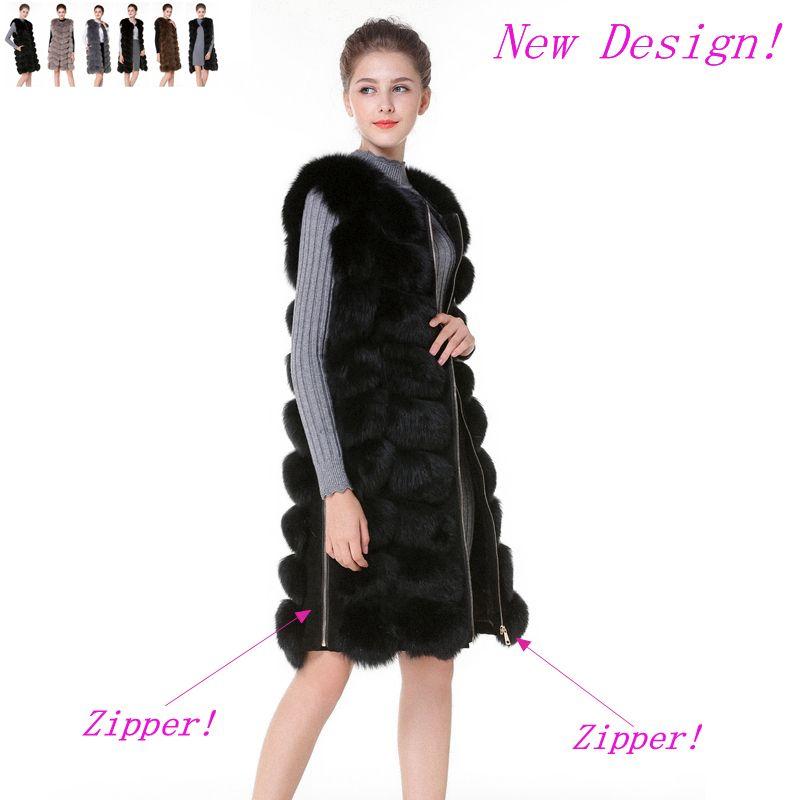 Real Fur Vest With Side Zipper 90CM 6 colors Design Winter Fur Vest Ladies Waistcoat Real Fur Vest Female Fox Waistcoat DHL