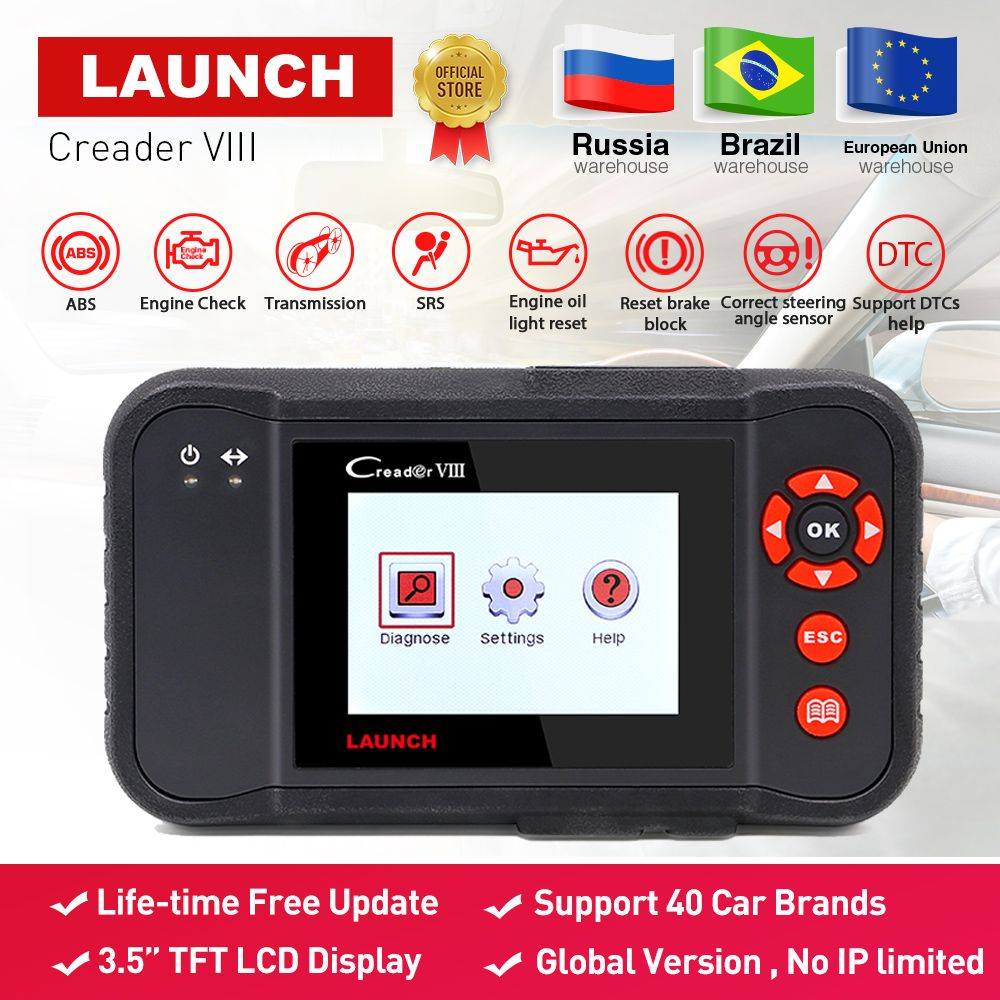 LAUNCH X431 obd2 code reader Scanner Creader VIII 8 Auto diagnostic Tool for ENG/ABS/SRS/AT+Oil/EPB/SAS reset pk CRP129 NT614