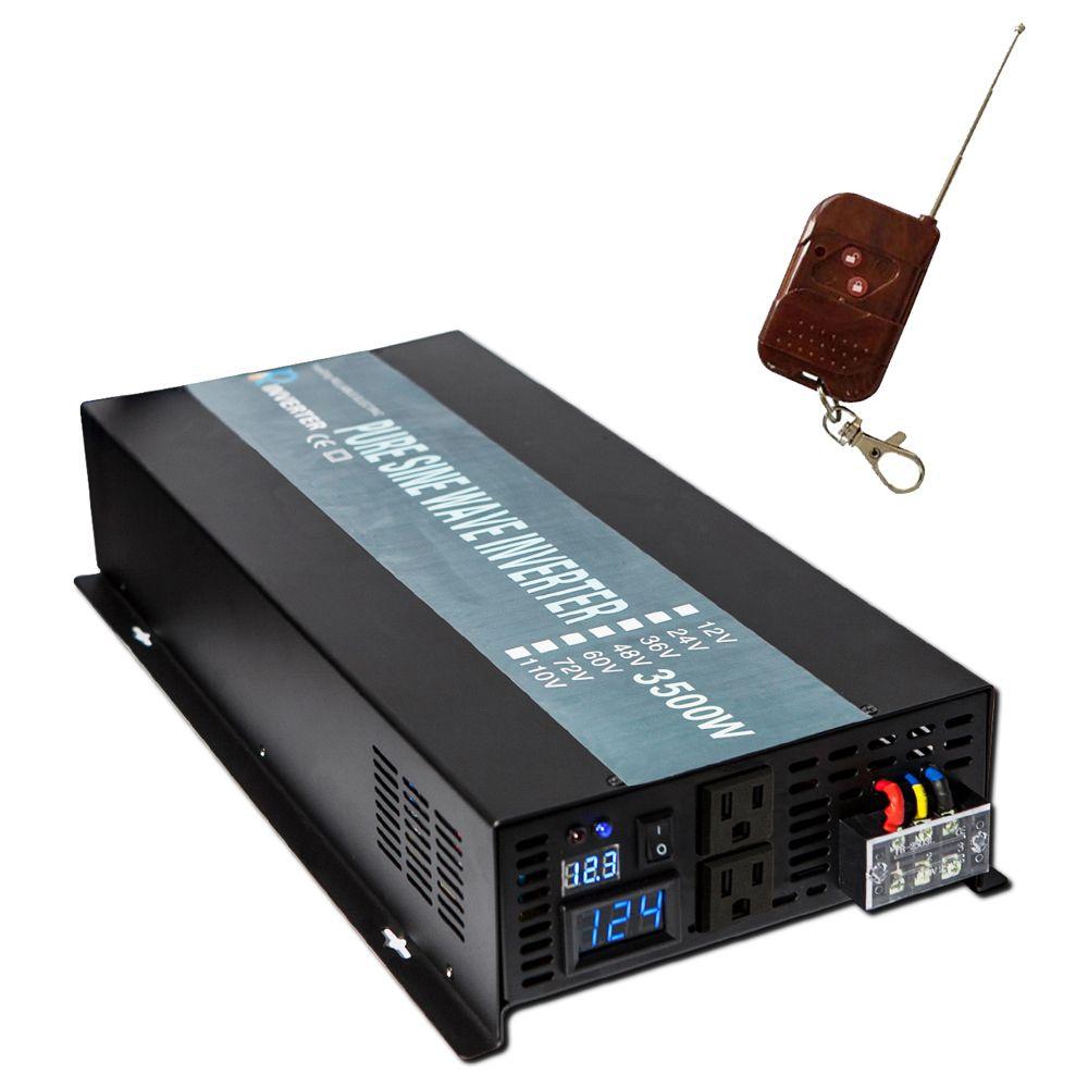 Pure Sine Wave Solar Inverter 24V 220V 3500W Car Power Inverter Battery Converter 12V 24V 48V 96V DC to 120V 220V 230V 240V AC