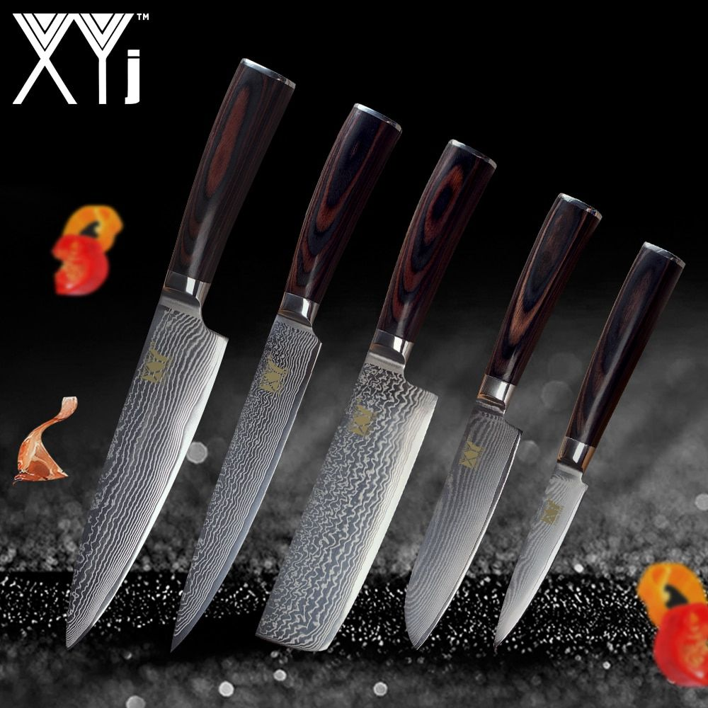 XYj Damascus Kitchen Knives New Arrival 2018 Color Wood Handle 5 Pcs Set 73 Layers VG10 Japanese Steel Blade Cooking Knives