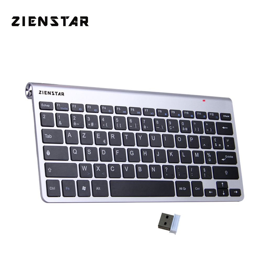 Zienstar AZERTY French <font><b>Language</b></font> Ultra Slim 2.4G Wireless Keyboard for Macbook/PC Computer/Laptop / Smart TV with USB Receiver