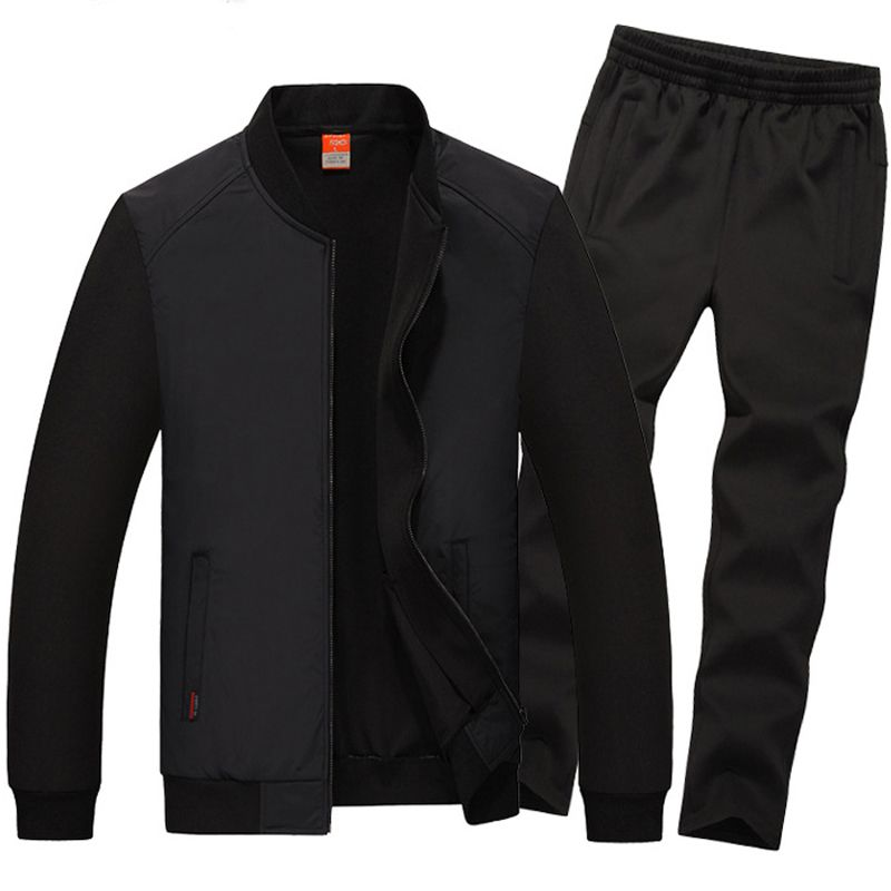 7XL 8XL Sport Suit Men Baseball Collar Sport Set New Windproof Sportsuit Plus Loose Mens Suits Zip Pocket Gym Sportswear Run Set