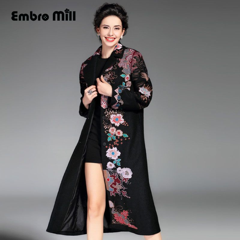 High-end winter trench coats for women high quality plus size vintage Elegant Floral woolen embroidery overcoat ladies M-XXXL