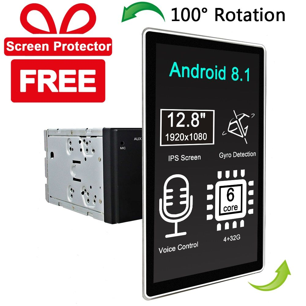 Carbar 12,8 Tesla Stil Rotation IPS Screen 2 Din Universal Android 8.1 Auto DVD GPS-Player Radio Auto Stereo Stimme control