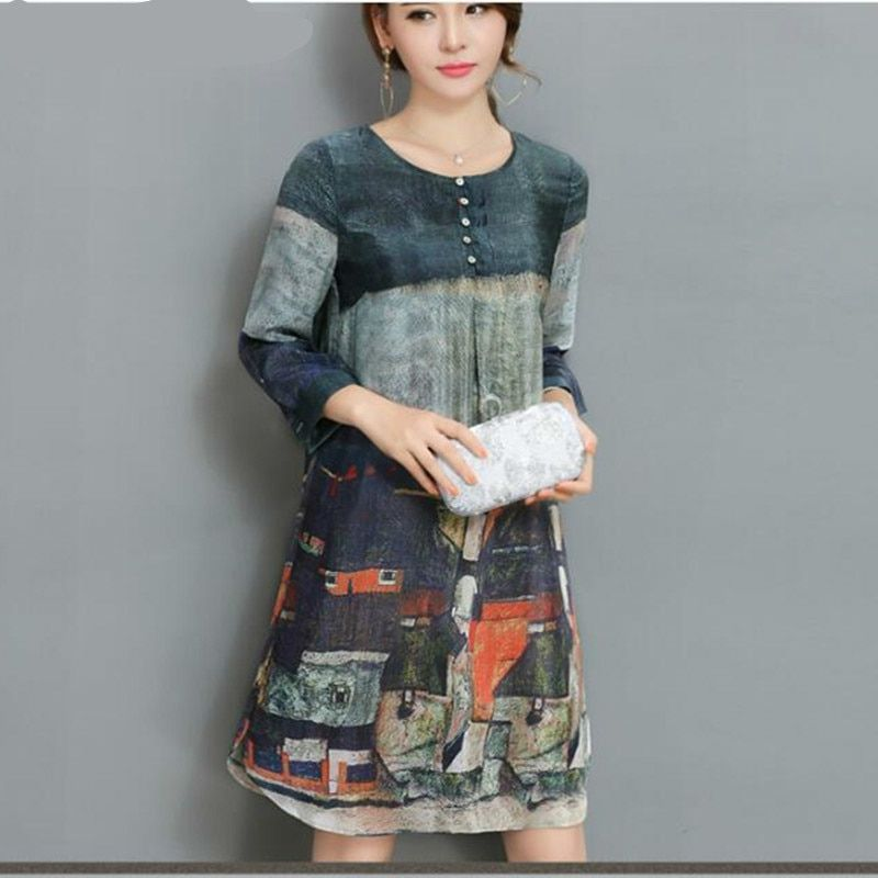 SZMXSS Women's Printed Silk Dress Chiffon A Line Casual Office Ladies Knee Length Dresses Clothes Vestidos Robes Femme Vintage