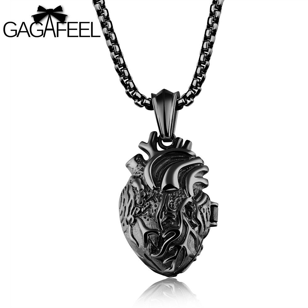 GAGAFFEL Heart Pendants Necklaces  Men Jewelry 316L Stainless Steel 3 Colors Anatomically Correct Organ For Mysterious Party