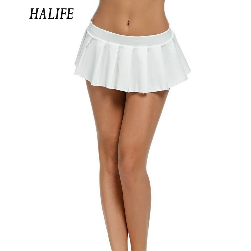 Women Micro Skirt Sexy Low Waist Short Mini Skirt Female Sleepwear Nightwear Cosplay <font><b>Student</b></font> Uniform Faldas Pleated Skirts 615