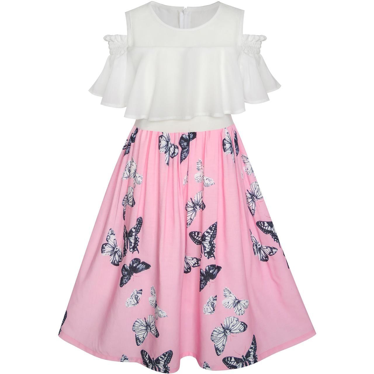Sunny Fashion Girls Dress Chiffon Butterfly Ruffle Cold shoulder White Pink 2018 Summer Princess Wedding Party Dresses Size 7-14