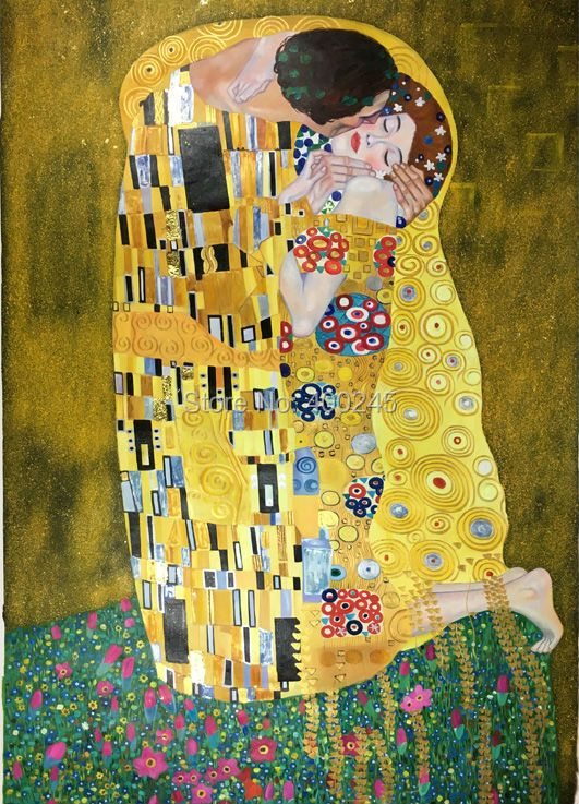 High quality Gold leaf on canvas Famous gustav klimt oil painting reproduction The Kiss art for bedroom living room Handpainted