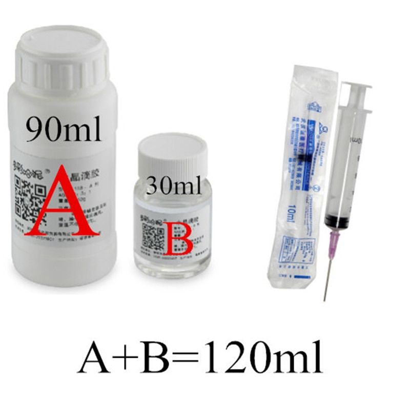 Einfache bedienung 120 ml AB zwei komponenten epoxy doming transparent kristall harz kleber und härter messzylinder