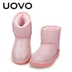 Merah Muda Gadis Sepatu Bot Salju Musim Dingin Ukuran 28-35 Sekolah Hangat untuk Anak-anak All-Match Putri Musim Dingin Sepatu Bot Sepatu Salju Lembut mewah Flat