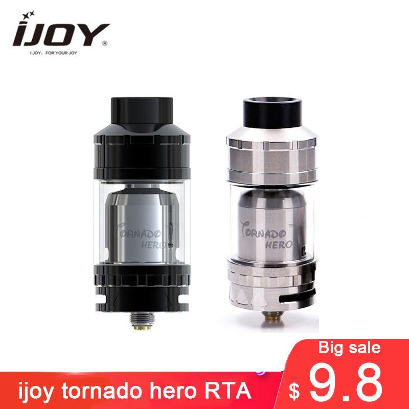 Grosse vente!!! Atomiseur Original IJOY Tornado Hero RTA et réservoir Sub Ohm 5.2 ml flux d'air de style Kennedy avec bobine TRC 0,3ohm vapeur énorme