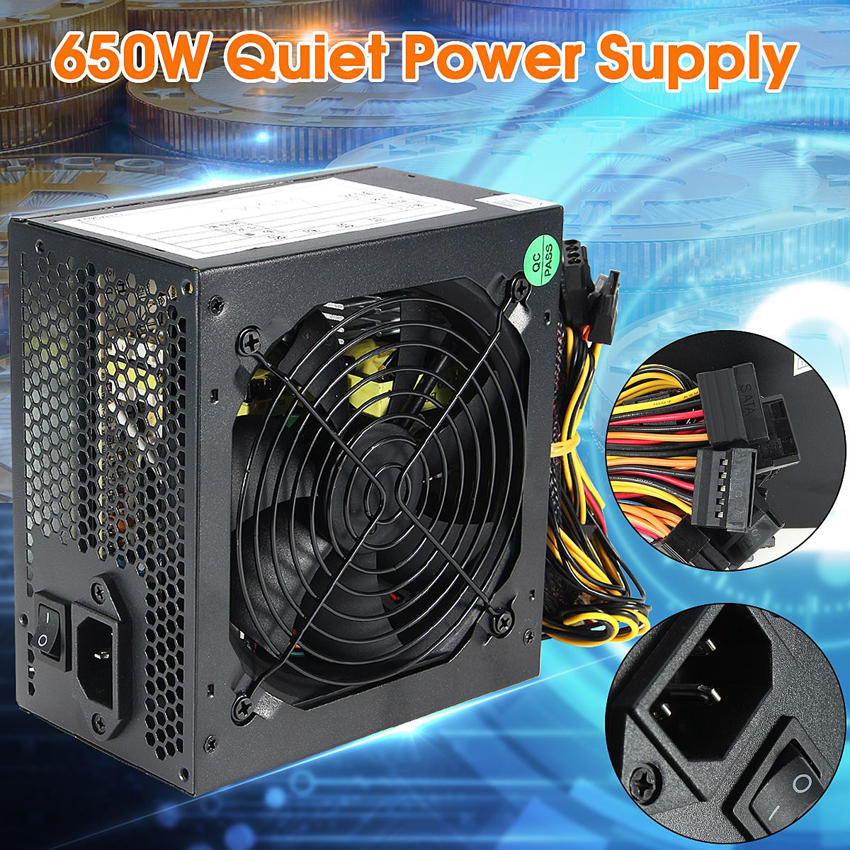 600W Quiet 120mm Fan ATX 12V 4/8-pin PC Power Supply Modular SLI Illuminated Fan for High-end ComputerConfiguration PC