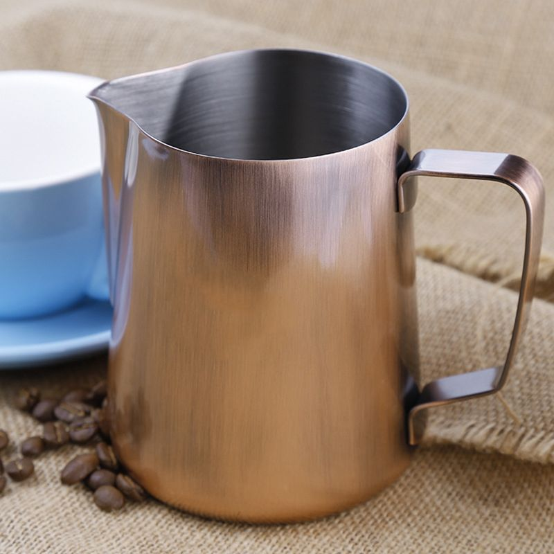 Stainless Steel Milk Frothing Jug 600ml Bronze Espresso Coffee Pitcher Barista Craft Coffee Latte Milk Frothing Jug
