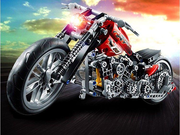 HOT 378 pcs 3354 Moto Technic Exploiture Modèle Harley Véhicule de Construction Briques Block set Jouet Cadeau FSWOB