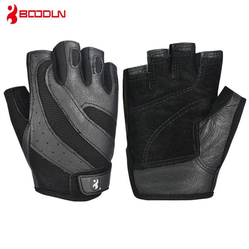 Pigskin Men's Gym Gloves Bodybuilding Crossfit Fitness Sports Dumbbell Barbell Weight Lifting Sport Gloves for Horizontal Bar
