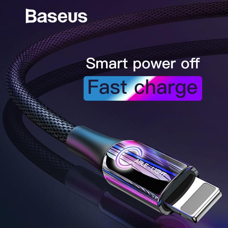 Baseus Intelligente Power Off USB Kabel für iPhone x xs max Ladekabel C-Typ Atmen Beleuchtung für iPhone ladegerät Kabel