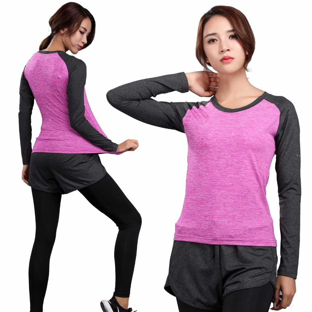 Long Sleeve Yoga Fitness Women Quick Dry T-shirt Compression Tight Sport Shirts Gym Training Women Round Neck Running Tee