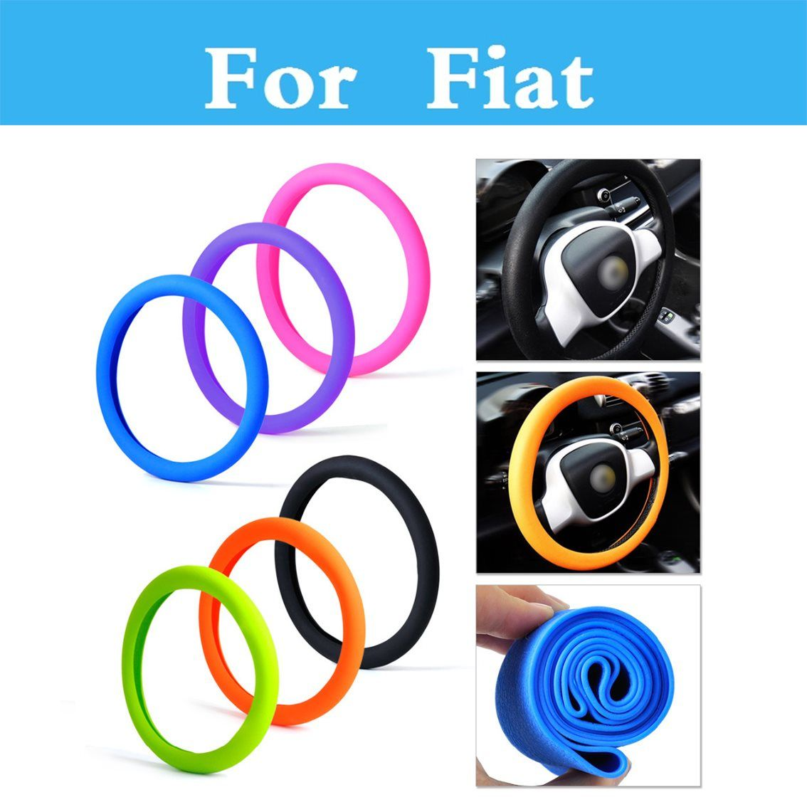 HOT Soft Silicone Steering Wheel Cover Shell Skidproof Eco Friendly For Fiat Seicento Siena Stilo Palio Panda Sedici