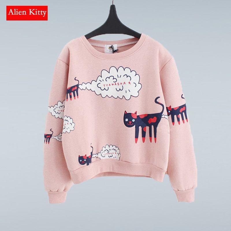 Alien Kitty nouveau 2019 sweat-shirt haut pour femme grande taille lâche décontracté Plus épais velours dessin animé chat motif pulls pulls