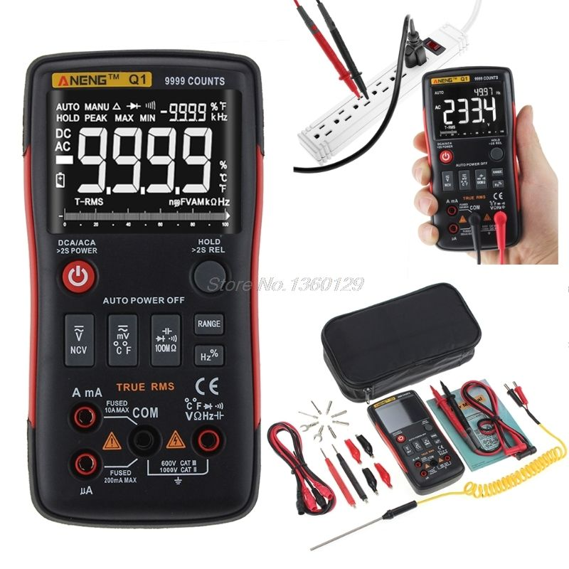 Q1 True-RMS Digital Multimeter Auto Button 9999 Counts Analog Bar Graph AC/DC Voltage Ammeter Current Ohm Transistor Tester XJ36