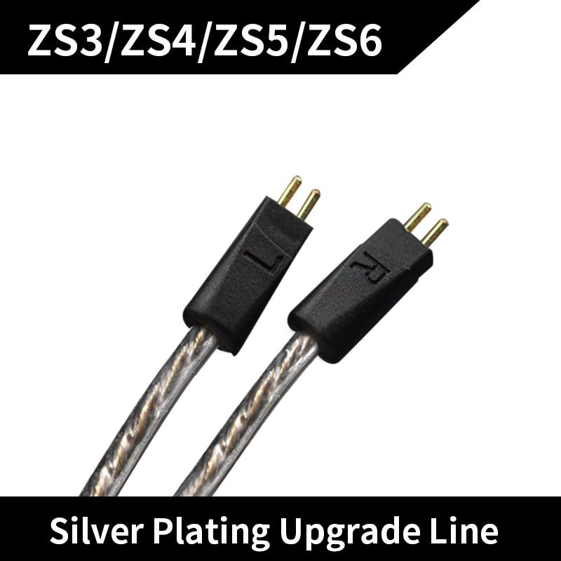New KZ ZS6/ZS5 ZST/ED12 Dedicated Cable 2Pin Upgraded Plated Silver Cable 2 PIN Replacement Cable Ues For ZS6/ZS5/ZS3 ZST/ED12