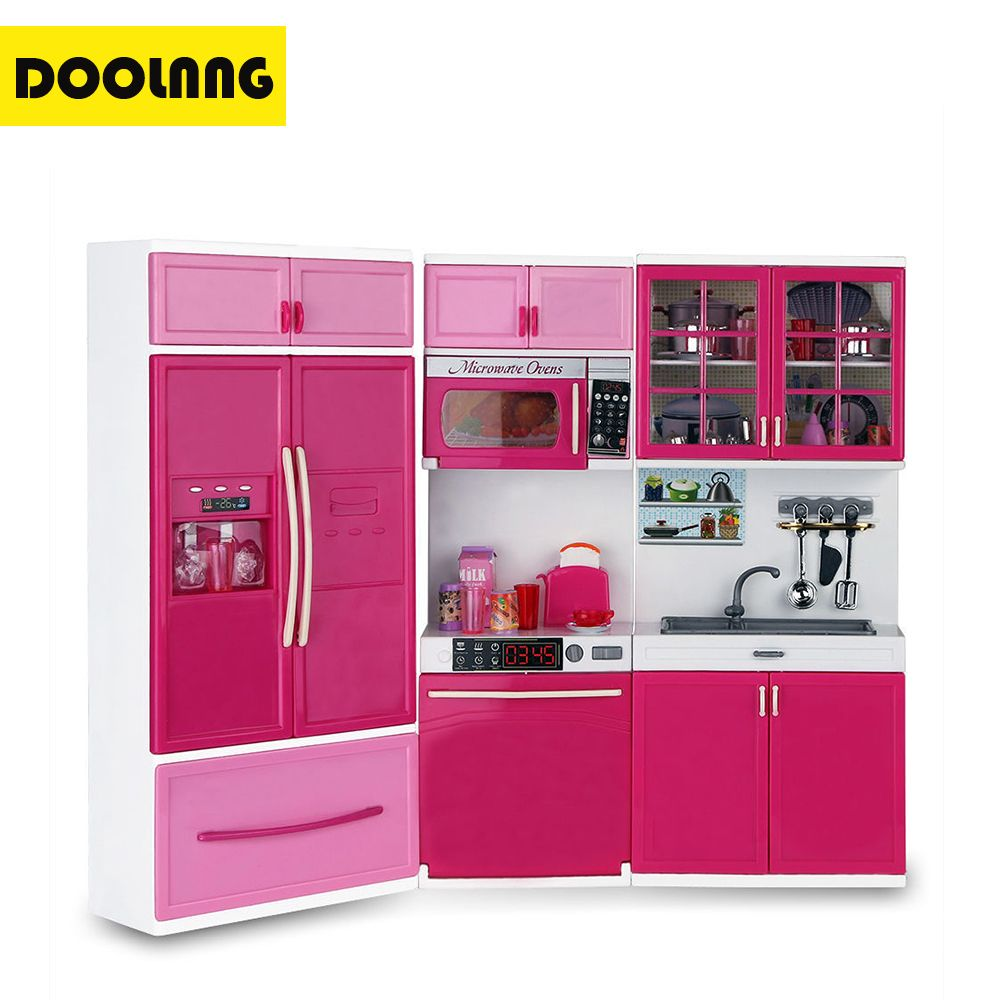 DOOLNNG Kids Large Kitchen Playset Girls&Boys Pretend Cooking Toy Play Set Pink Simulation Cupboard Gift DL-1101