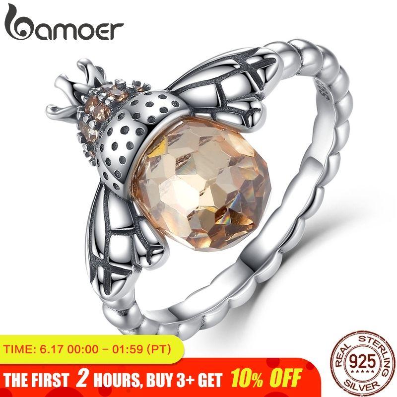 BAMOER 100% authentique 925 argent Sterling aile Orange Animal abeille bague pour femme bijoux en argent Sterling noël SCR025