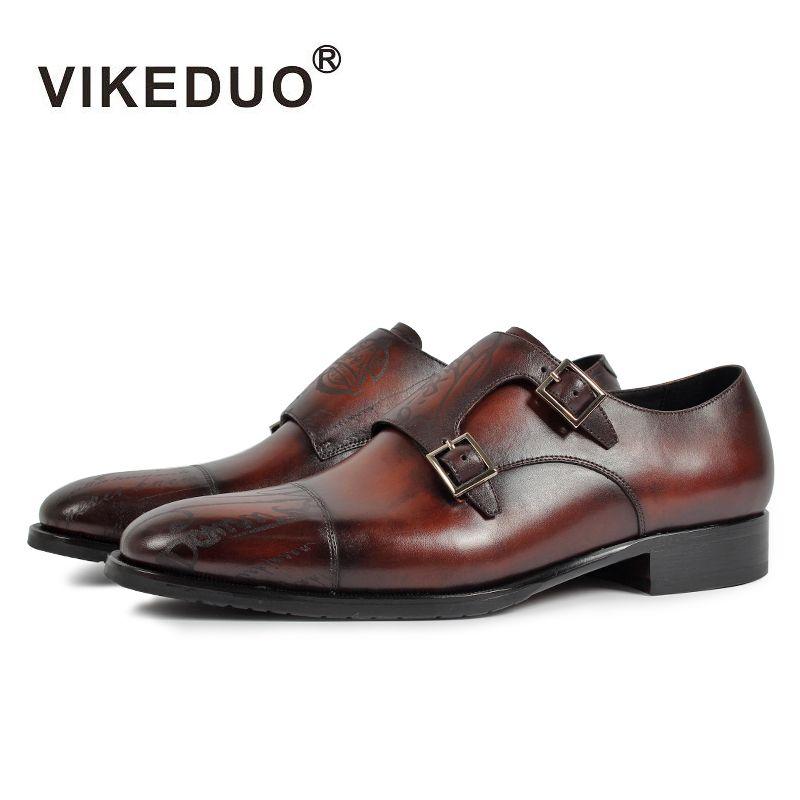 Vikeduo 2017 retro Vintage Diseñador Láser Fiesta de Baile de La Boda de moda de Lujo vestido de monje masculina zapatos Genuina Zapatos de Cuero Para Hombre