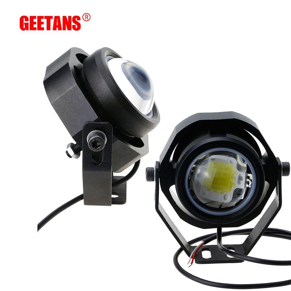 Feu de course GEETANS 2 pièces 10 W 12 V 24 V LED feu de brouillard de voiture DRL pour camion de moto hors route fort/faible/clignotant 3 mode de commutation
