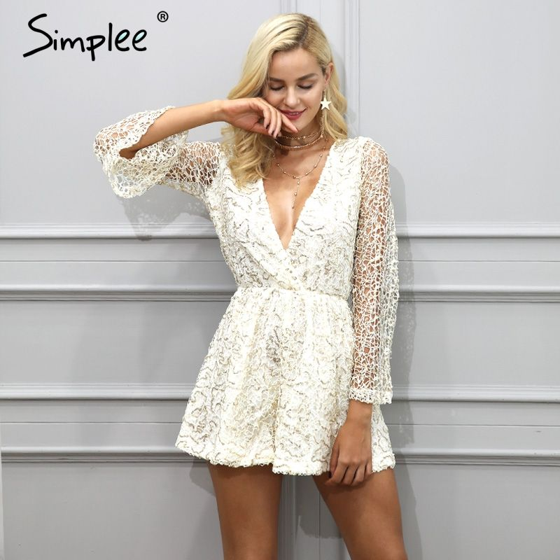 Simplee Sexy lace gold sequin jumpsuit romper Women deep v neck <font><b>hollow</b></font> out overalls Summer 2017 long flare sleeve black playsuit