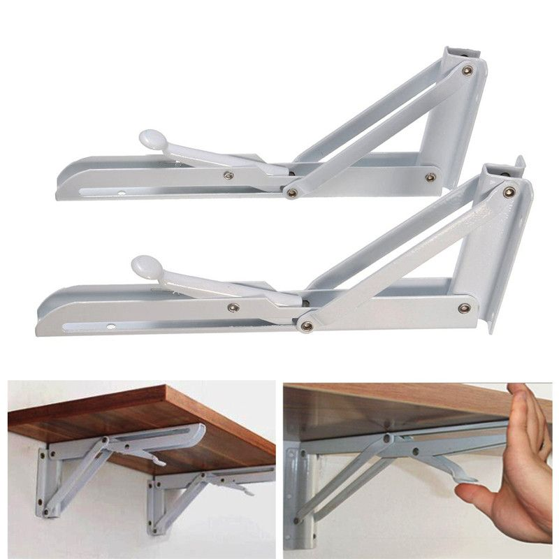 MTGATHER 2Pcs Triangular Folding Bracket Metal Release Catch Support Bench Table Folding Shelf Bracket Home
