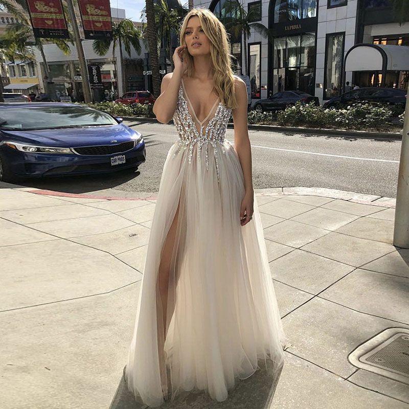 LORIE 2019 V Neck Strand Hochzeit Kleider Perlen Hohe Split Backless EINE Linie Tüll Sexy boho Brautkleider Vintage