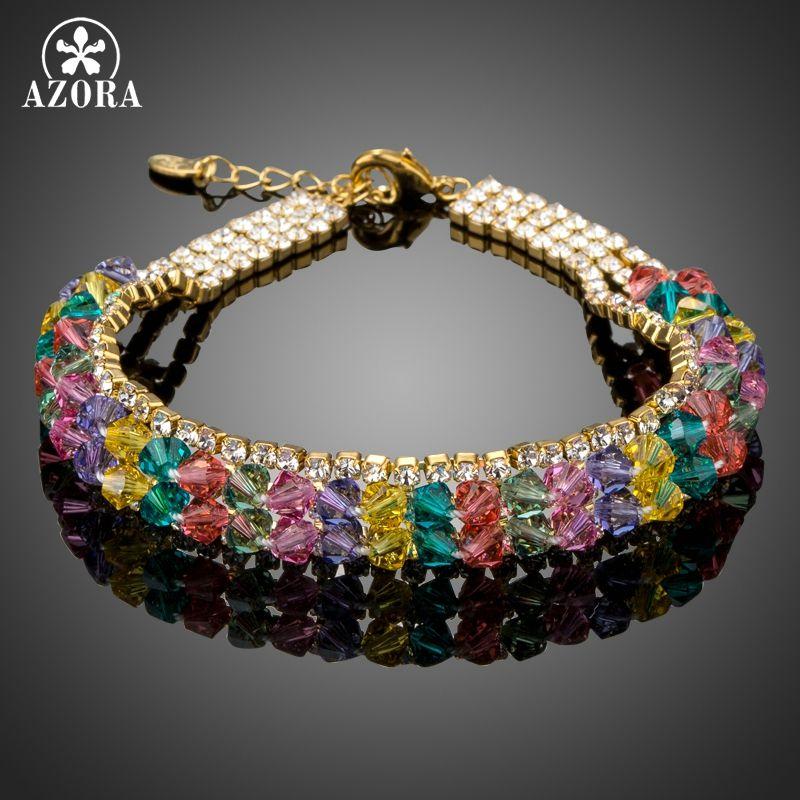 AZORA Gold Color Colorful Stellux Australian Crystal Beads Charm Bracelets TS0157