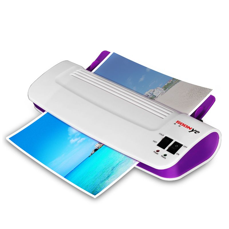 A4 Photo Laminator Professional Office Hot & <font><b>Cold</b></font> Thermal Laminating Machine For Document Photo PET Films Roll Laminator