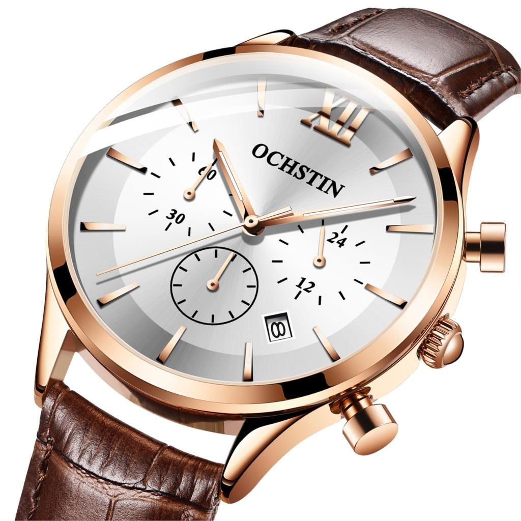 OCHSTIN de luxe décontracté marque montre hommes étanche sport en cuir horloge Quartz-montre Relogio Masculino chronographe 2019
