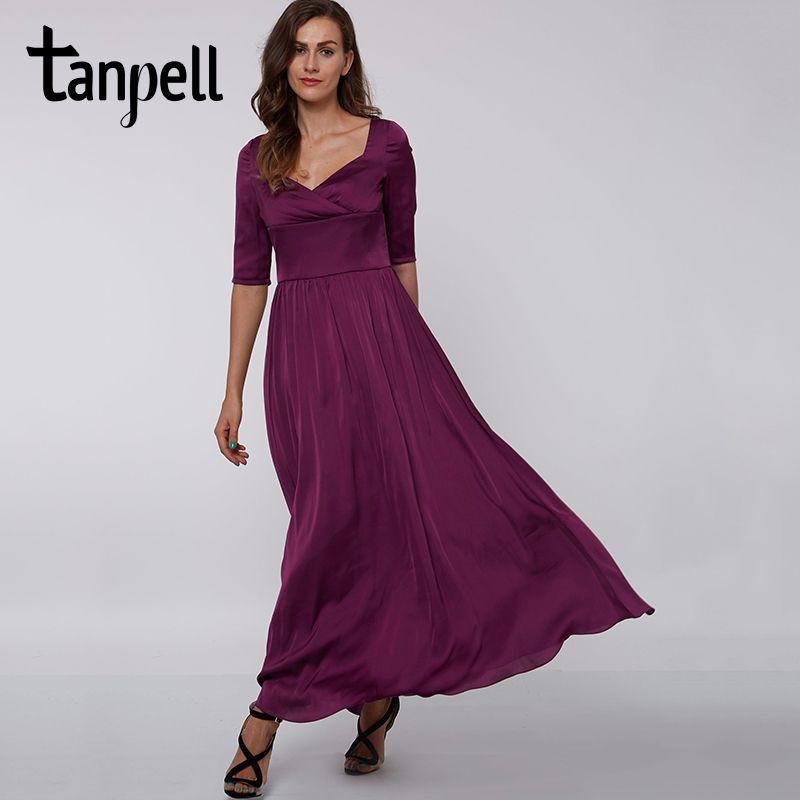 Tanpell purple square collar long evening dress elegant black half sleeves draped Ankle-Length dress formal party evening dress