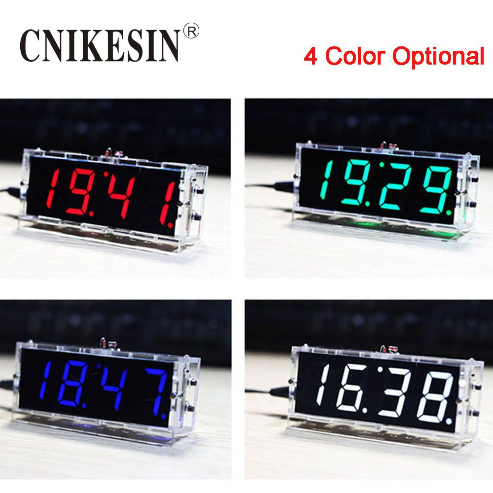 CNIKESIN DIY Numérique Horloge Suite Voix Chronométrage Horloge Pièces LED DIY montre électronique Avec la voix de diffusion (couleur en option)