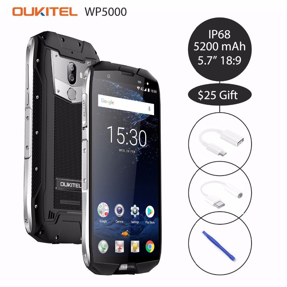 Oukitel WP5000 5.7'' 18:9 Android 7.1 Helio P25 Octa Core Mobilephone 6GB RAM 64GB ROM 5200mAh 4G Smartphone IP68 Waterproof OTG