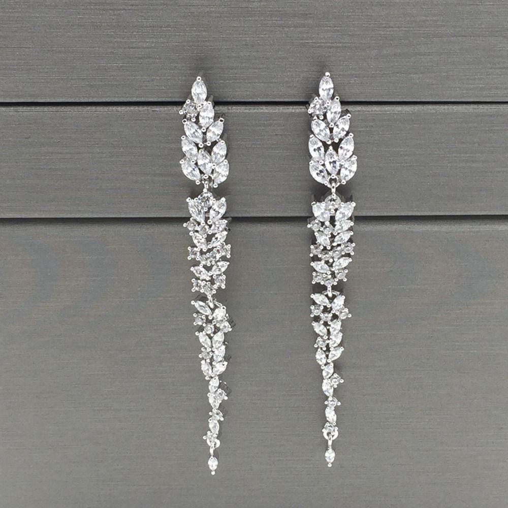 exquisite design leaf ear line long stud earring jewelry AAA cubic zironia brincos for women bijoux
