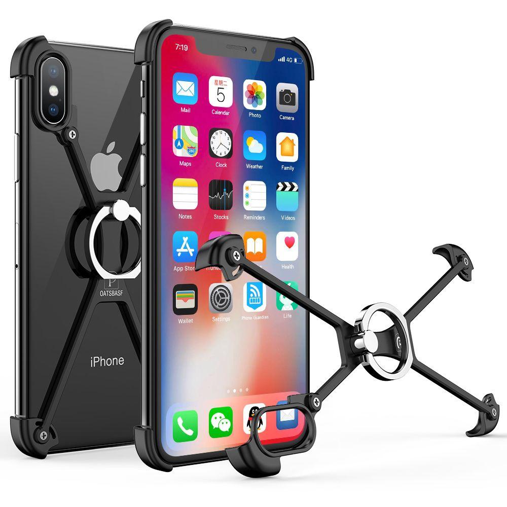 OATSBASF X Forme avec Bague caisse De Support Pour l'iphone XS Shell pour iPhone XS MAX Cas de Butoir En Métal Pour l'iphone X Avec Cadeau Verre Film