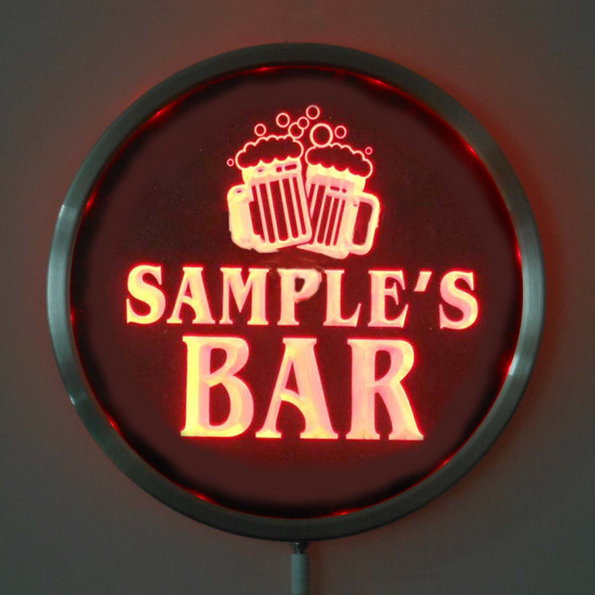 rs-w-tm Custom LED Neon Round Signs 25cm/ 10 Inch - Personalized BAR Cheers Beer Sign RGB Multi-Color Remote Wireless Control