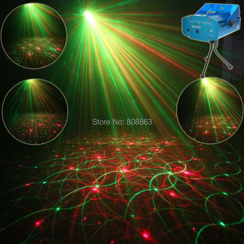 Mini R&G Laser 4 Patterns projector Club Bar Dance Disco Coffee Shop Home Party Xmas DJ Effect Lighting Light Show Y4 + Tripod