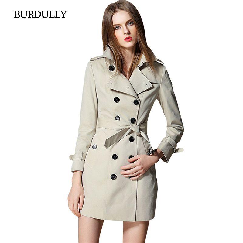Burdully зима длинный плащ пальто для Для женщин Осень большой Размеры Для женщин Тренчи для женщин верхняя одежда пальто двубортный Abrigos Mujer ...