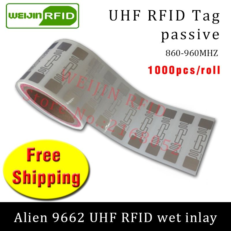 UHF RFID tag sticker Alien 9662 EPC6C wet inlay 915mhz868mhz860-960MHZ Higgs3 1000pcs free shipping adhesive passive RFID label