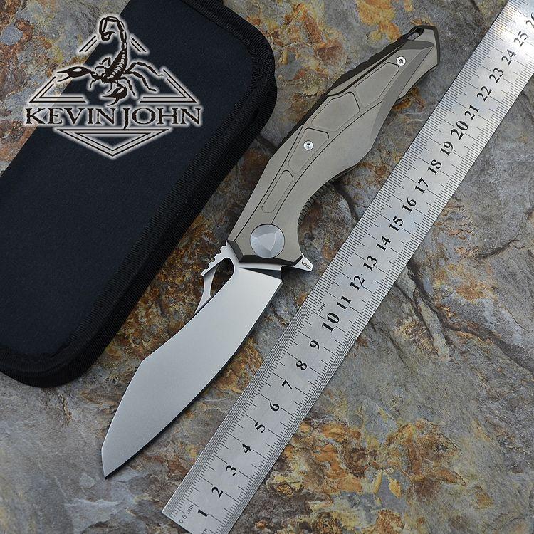 KEVIN JOHN DO 0427 M390 blade TC4 titanium Tactical ball bearing Flipper folding knife camp outdoor survival knives EDC tools